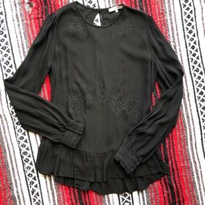 Ro & De for Anthropologie. Black embroidered top